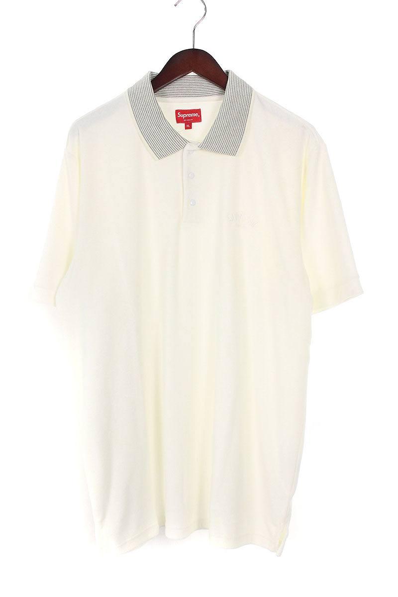 シュプリーム/SUPREME 【17SS】【Striped Collar Terry Polo】ストライプカラーテリー半袖ポロシャツ(XL/ホワイト×グレー)【OM10】【メンズ】【220181】【中古】【準新入荷】bb76#rinkan*A