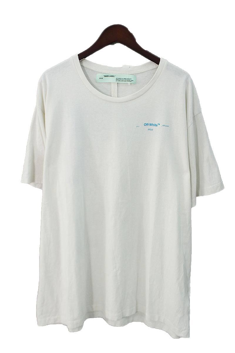 オフホワイト/OFF-WHITE 【18AW】【GRADIENT S/S T-SHIRT】バックアロープリントオーバーサイズTシャツ(L/ホワイト×ブルー×パープル)【NO05】【メンズ】【220181】【中古】bb147#rinkan*B
