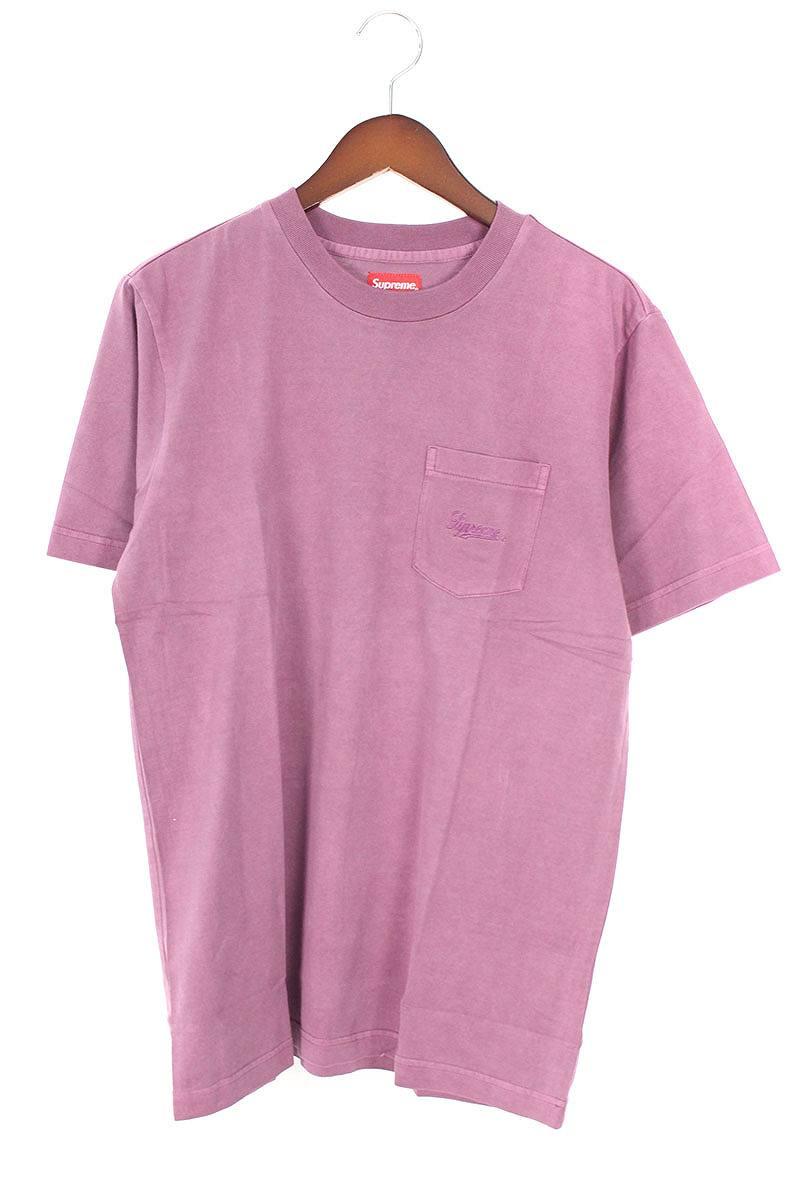 シュプリーム/SUPREME 【18SS】【Overdyed Pocket Tee】オーバーダイロゴ刺繍ポケットTシャツ(S/パープル)【OM10】【メンズ】【220181】【中古】【P】bb76#rinkan*S