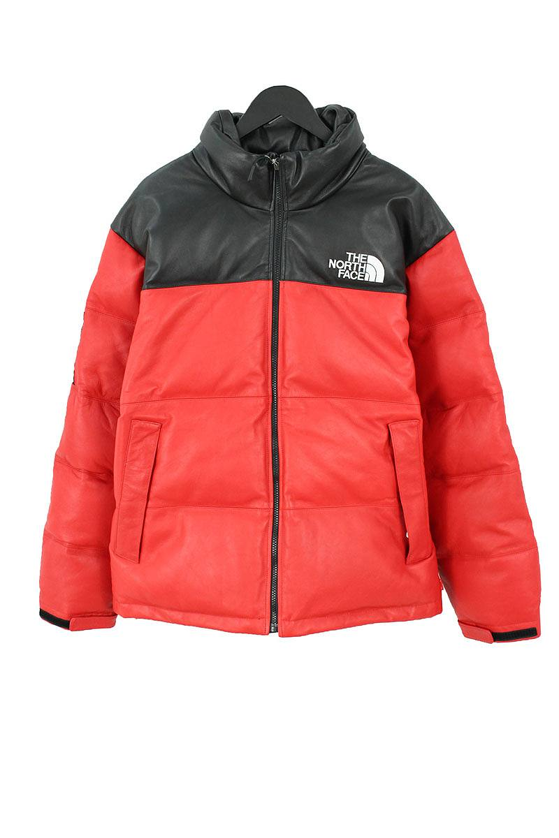 シュプリーム/SUPREME ×ノースフェイス/THE NORTH FACE 【17AW】【Leather Nuptse Jacket】オールレザーヌプシダウンジャケット(L/レッド)【HJ12】【メンズ】【220181】【中古】bb99#rinkan*S