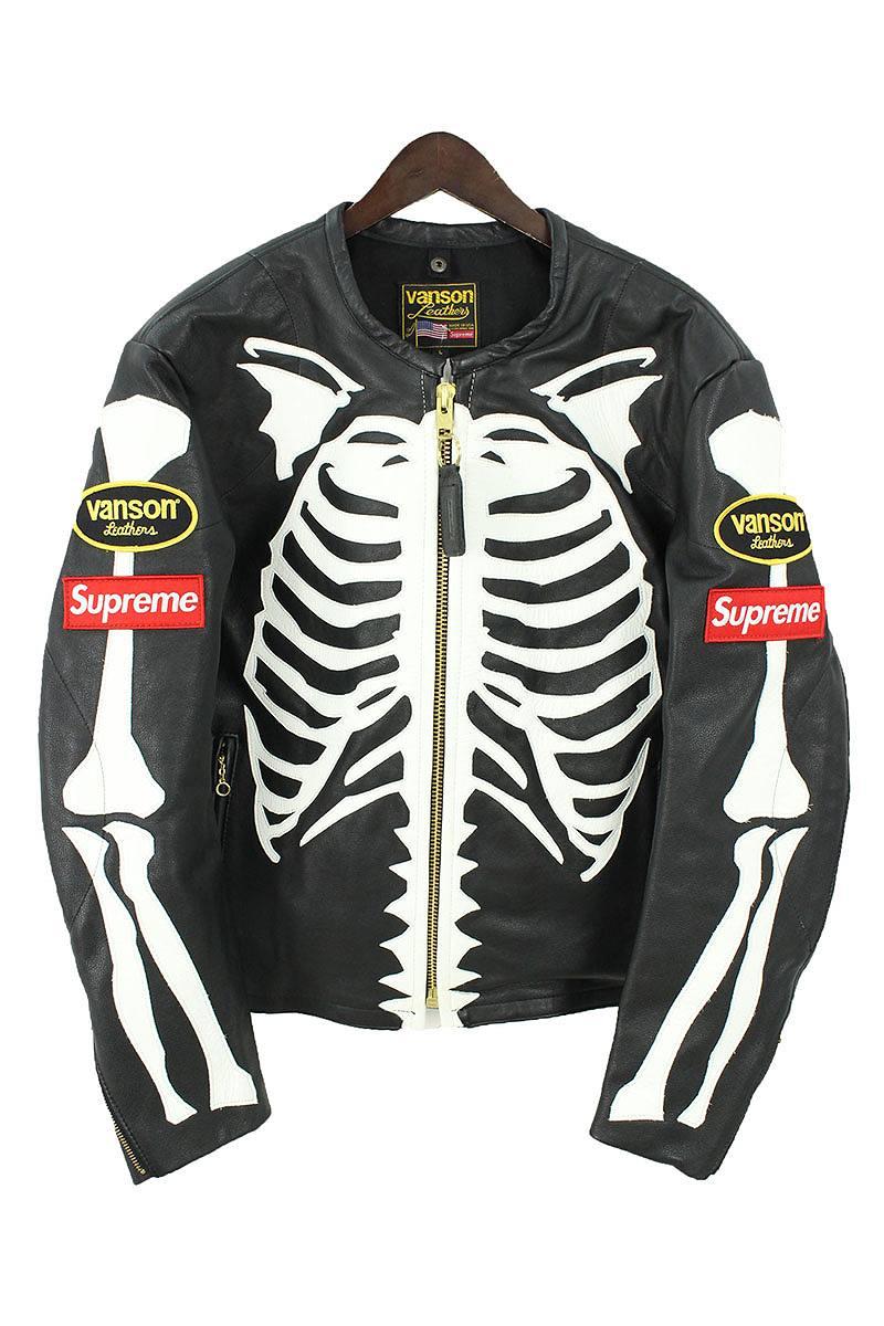 シュプリーム/SUPREME ×バンソン/VANSON 【17AW】【Leather Bones Jacket】×VANSONボーンレザーレザージャケット(L/ブラック)【HJ12】【メンズ】【220181】【中古】【準新入荷】bb99#rinkan*S