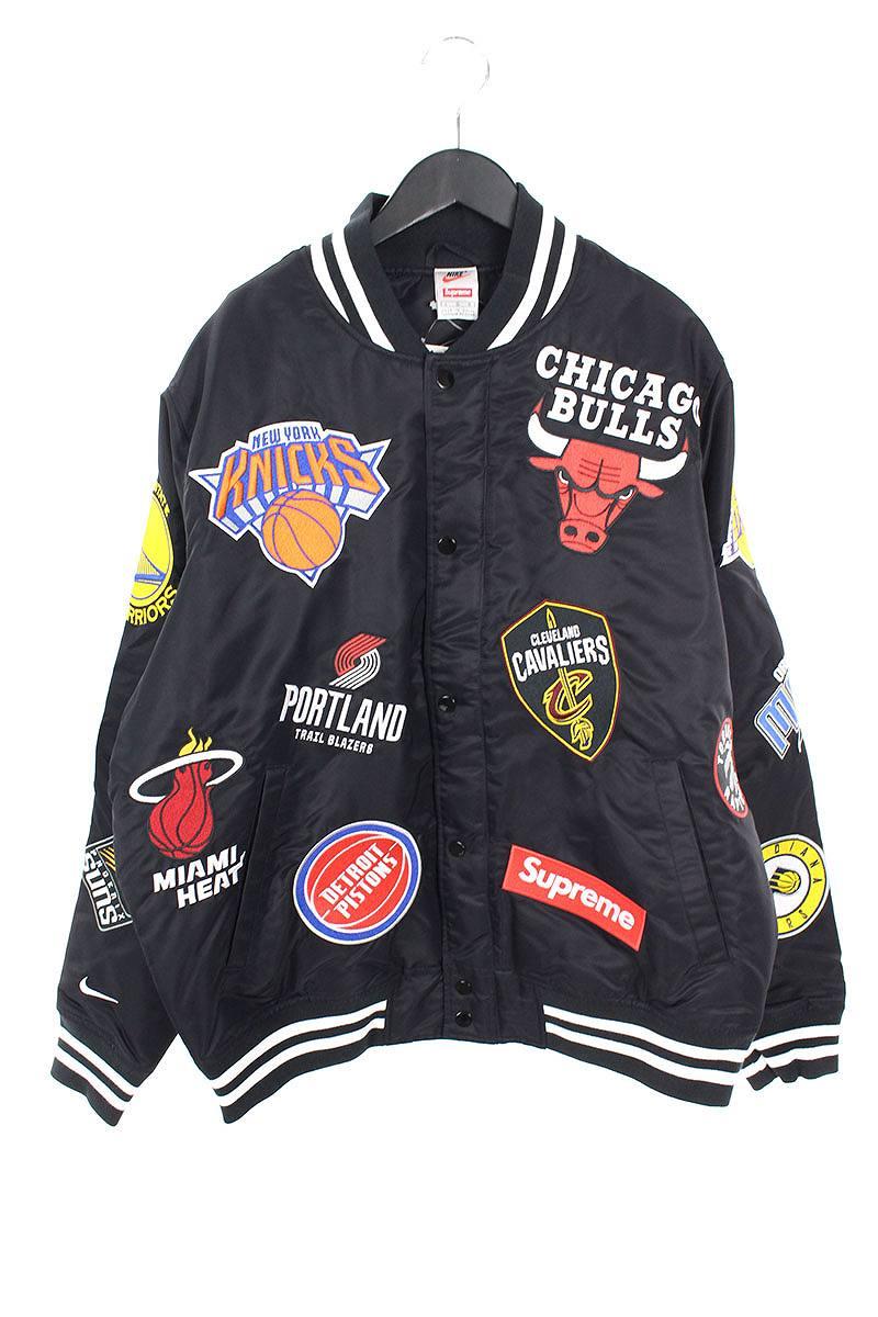 シュプリーム/SUPREME ×ナイキ/NIKE 【18SS】【NBA Teams Warm-Up Jacket】ワッペンデザインウォームアップスタジャンジャケット(L/ブラック)【FK04】【メンズ】【220181】【中古】【準新入荷】bb131#rinkan*S