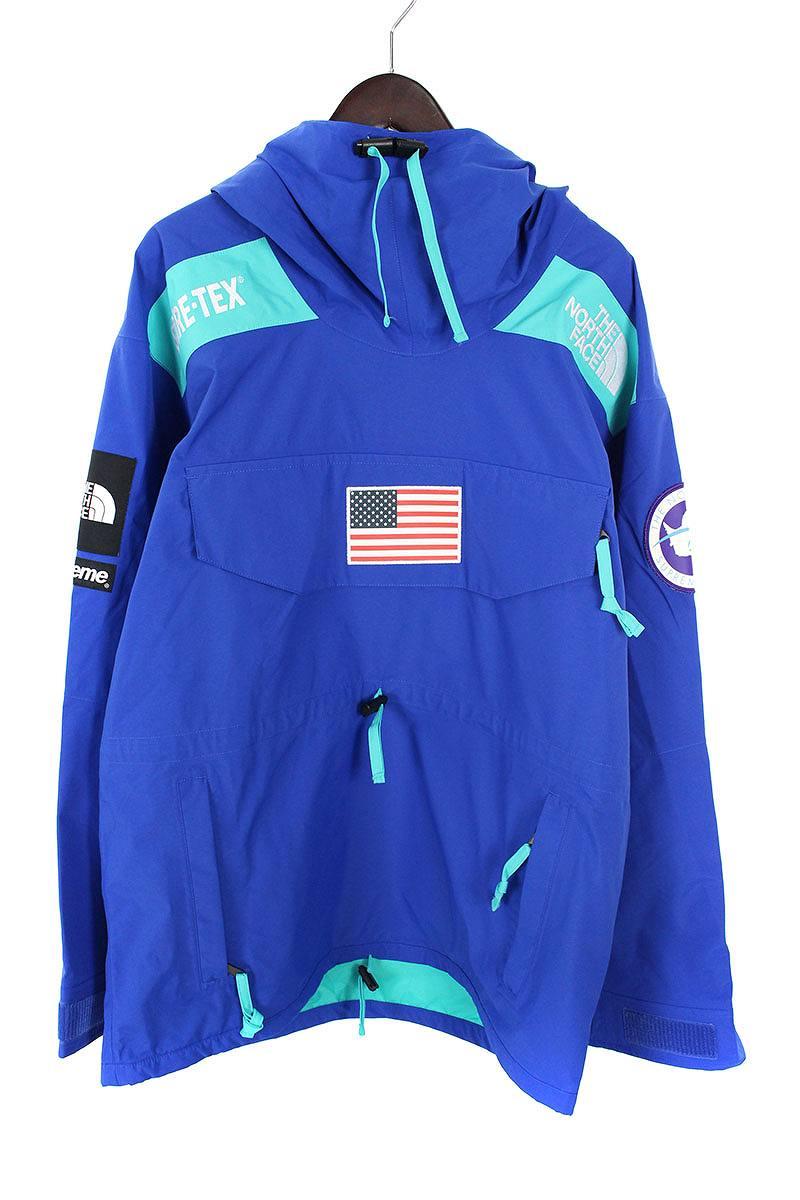 シュプリーム/SUPREME ×ノースフェイス/THE NORTH FACE 【17SS】【Trans Antarctica Expedition Gore-Tex Pullover】アメリカンフラッグマウンテンプルオーバージャケット(L/ブルー)【SJ02】【メンズ】【220181】【中古】bb99#rinkan*S