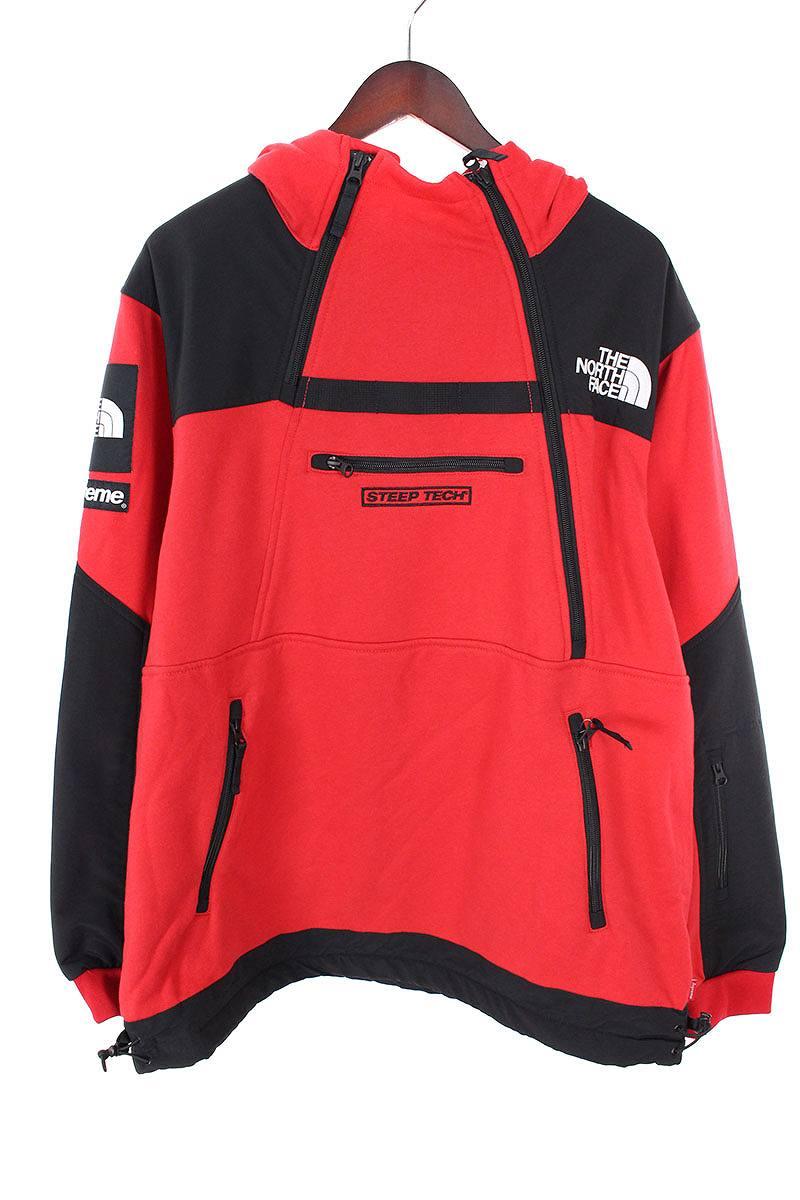 シュプリーム/SUPREME ×ノースフェイス/THE NORTH FACE 【16SS】【Steep Tech Hooded Sweatshirt】スウェットパーカージャケット(L/レッド)【OM10】【メンズ】【220181】【中古】bb99#rinkan*S