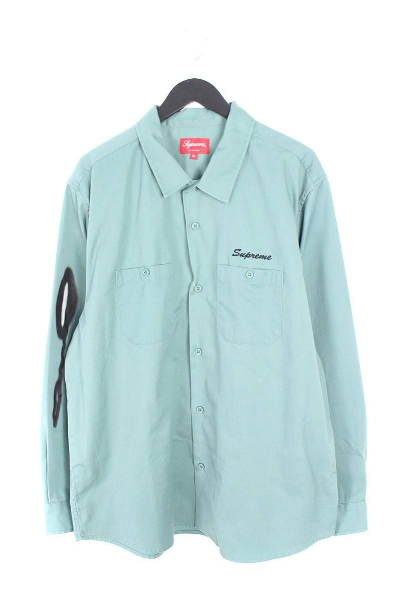シュプリーム/SUPREME 【18AW】【Rose L/S Work Shirt】ローズプリントワーク長袖シャツ(XL/グリーン)【SB01】【メンズ】【320181】【中古】bb170#rinkan*B