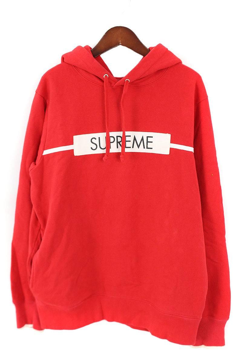 シュプリーム/SUPREME 【17SS】【Chest Twill Tape Hooded Sweatshirt】フロントロゴパッチプルオーバーパーカー(S/レッド)【SB01】【メンズ】【220181】【中古】【準新入荷】bb63#rinkan*B