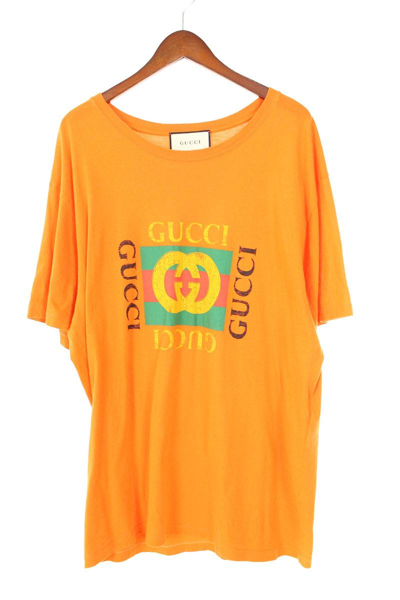 グッチ/GUCCI 【18SS】【493117 X3183】ヴィンテージ加工オールドロゴTシャツ(XL/オレンジ)【OS06】【メンズ】【515091】【中古】bb63#rinkan*B