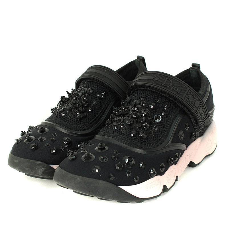 13a78d288da3 Christian Dior  Christian Dior flower beads Velcro sneakers (34  black X  pink) bb33 rinkan A