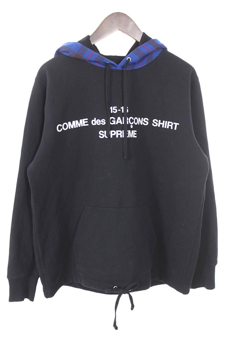 シュプリーム/SUPREME ×コムデギャルソンシャツ/COMME des GARCONS SHIRT 【15AW】【Hooded Sweatshirts】フードチェック柄プルオーバーパーカー(S/ブラック×ブルー)【OM10】【メンズ】【620181】【中古】[5倍]bb76#rinkan*B