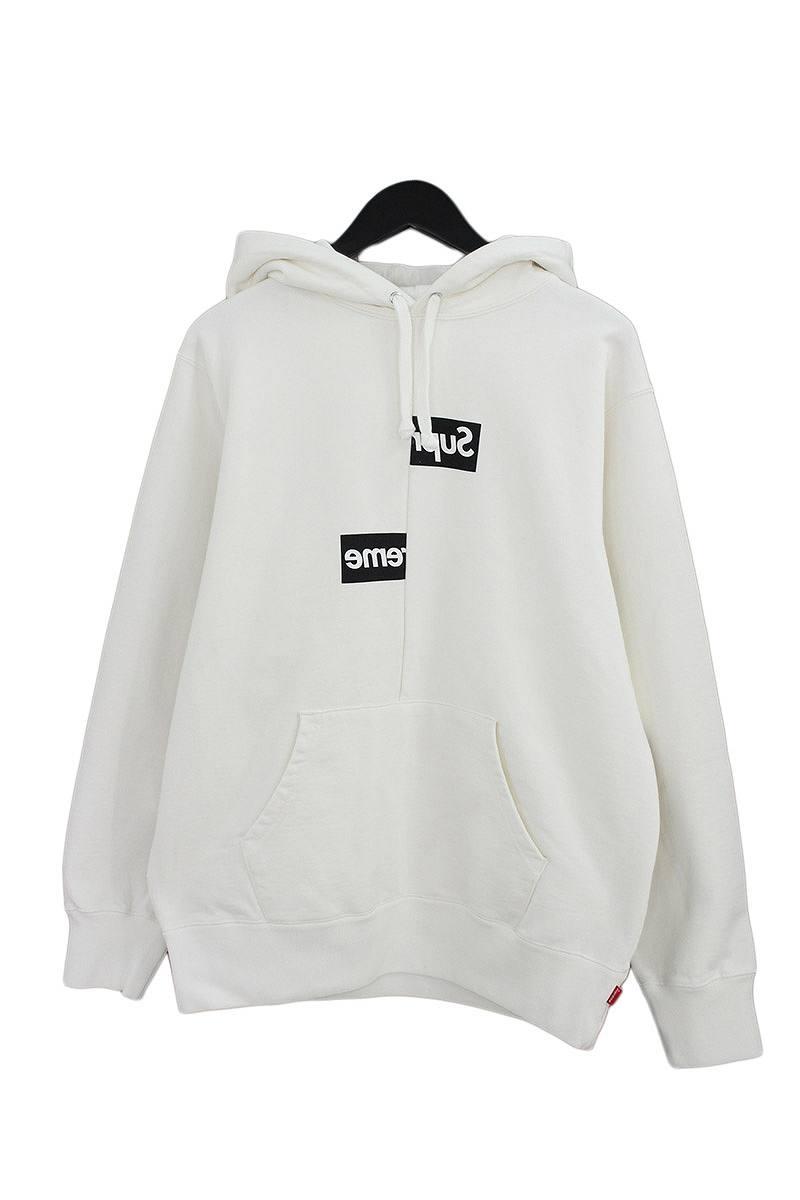 シュプリーム/SUPREME ×コムデギャルソンシャツ/COMME des GARCONS SHIRT 【18AW】【Split Box Logo Hooded Sweatshirt】スプリットボックスロゴパーカー(M/ホワイト)【SB01】【メンズ】【101181】【中古】bb187#rinkan*S