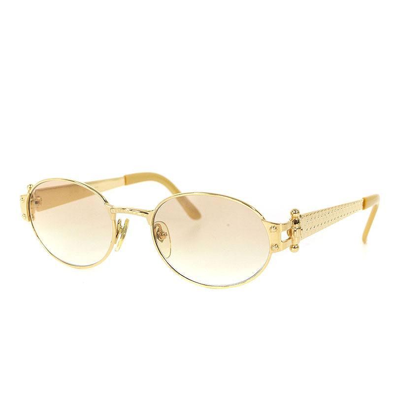 ジャンポールゴルチェ /Jean Paul Gaultier  【56-6104】1990sラウンドフレーム眼鏡(ゴールド×ブラウン調)【FK04】【小物】【601181】【中古】bb87#rinkan*B