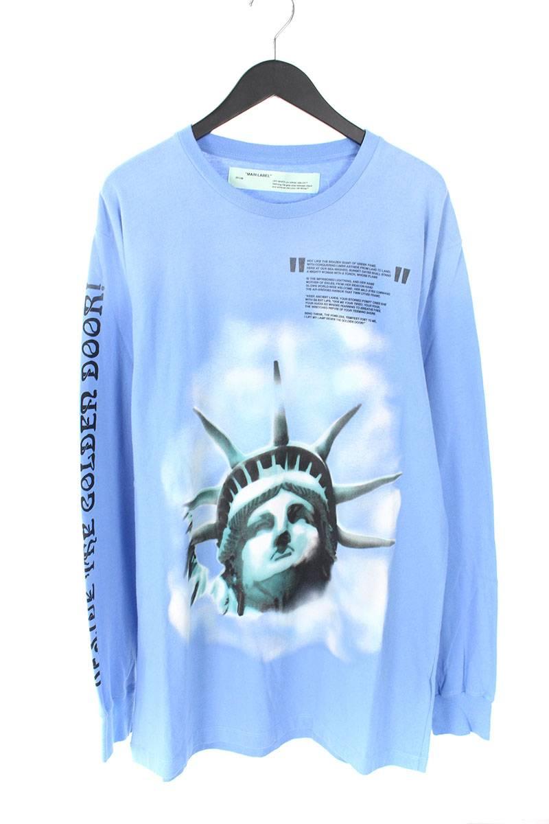 オフホワイト/OFF-WHITE 【18AW】【BLUE LIBERTY L/S T-SHIRT】リバティープリント長袖カットソー(XXL/ライトブルー)【SB01】【メンズ】【401181】【中古】bb154#rinkan*A