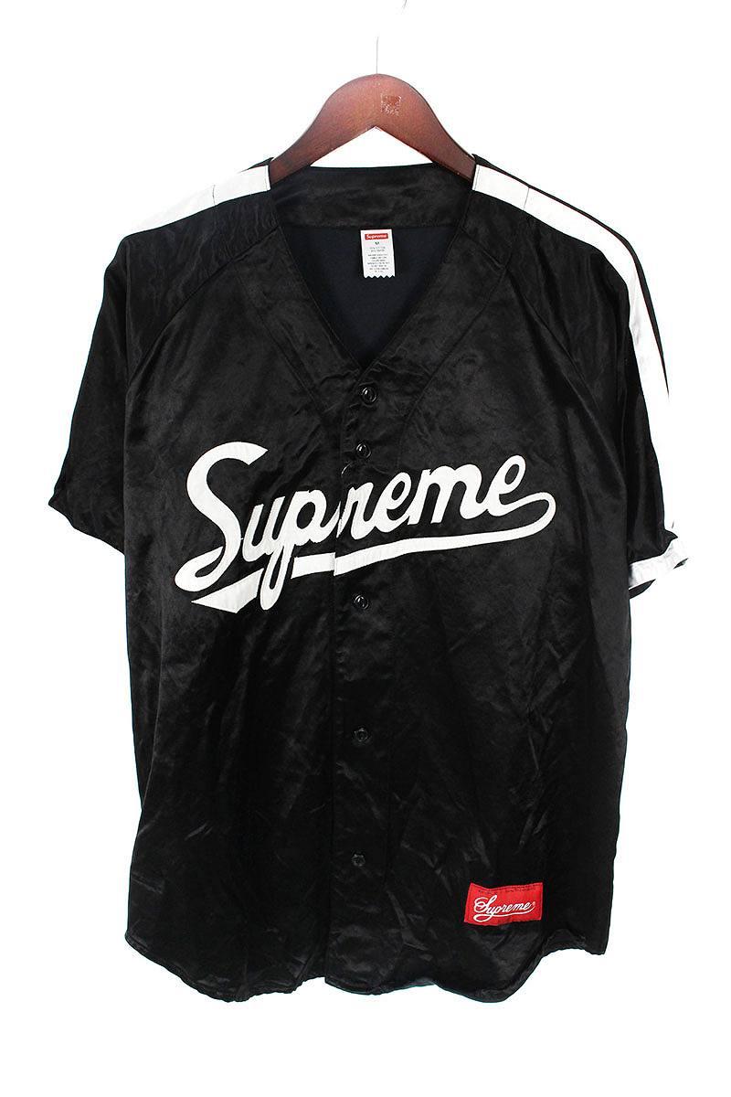 シュプリーム/SUPREME 【17SS】【Satin Baseball Jersey】サテンベースボール半袖シャツ(M/ブラック)【OM10】【メンズ】【501181】【中古】【準新入荷】bb168#rinkan*B