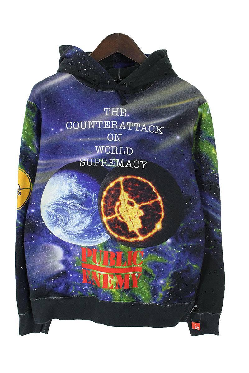 シュプリーム/SUPREME ×アンダーカバー/UNDERCOVER 【18SS】【Hooded Sweatshirt】×PUBLIC ENEMY総柄プルオーバーパーカー(S/ブラック調)【SB01】【メンズ】【501181】【中古】[5倍]bb187#rinkan*A