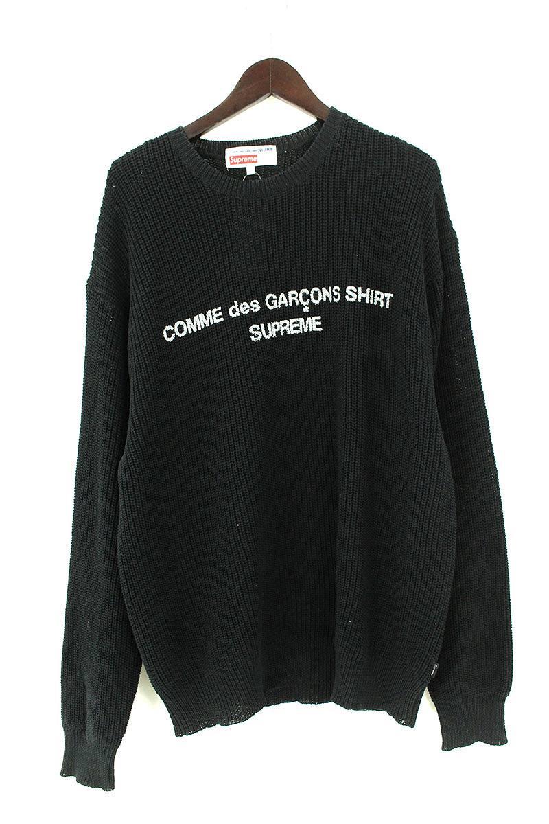 シュプリーム/SUPREME ×コムデギャルソンシャツ/COMME des GARCONS SHIRT 【18AW】【Cotton Sweater】フロントロゴプリントローゲージニット(L/ブラック)【SB01】【メンズ】【501181】【中古】【準新入荷】bb212#rinkan*A