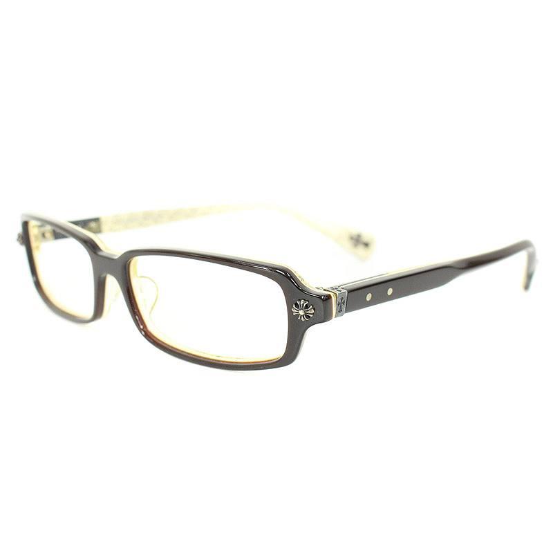 クロムハーツ/Chrome Hearts 【SPREAD-A】CHクロスモチーフセルフレーム眼鏡(52□15/ブラウン×ホワイト)【SJ02】【小物】【601181】【中古】bb32#rinkan*B