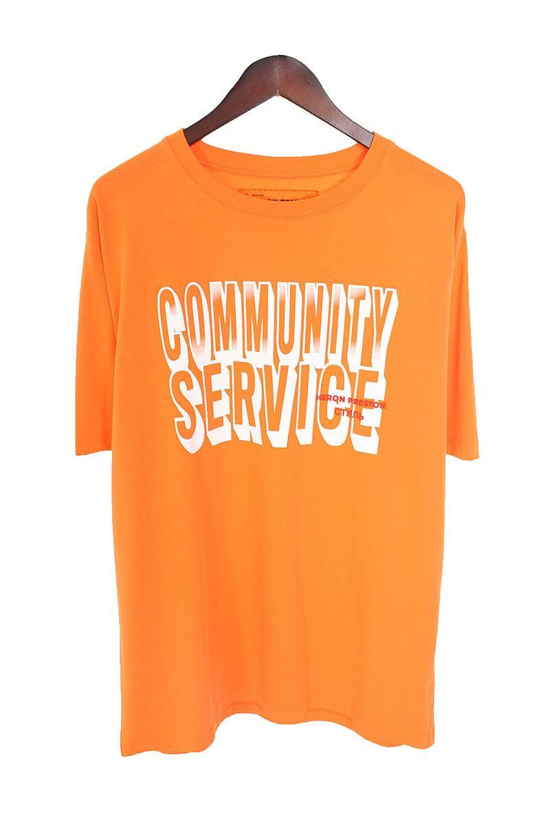 ヘロンプレストン/HERON PRESTON 【Community Service】フロントプリントTシャツ(S/オレンジ×ホワイト)【HJ12】【メンズ】【211181】【中古】bb169#rinkan*A