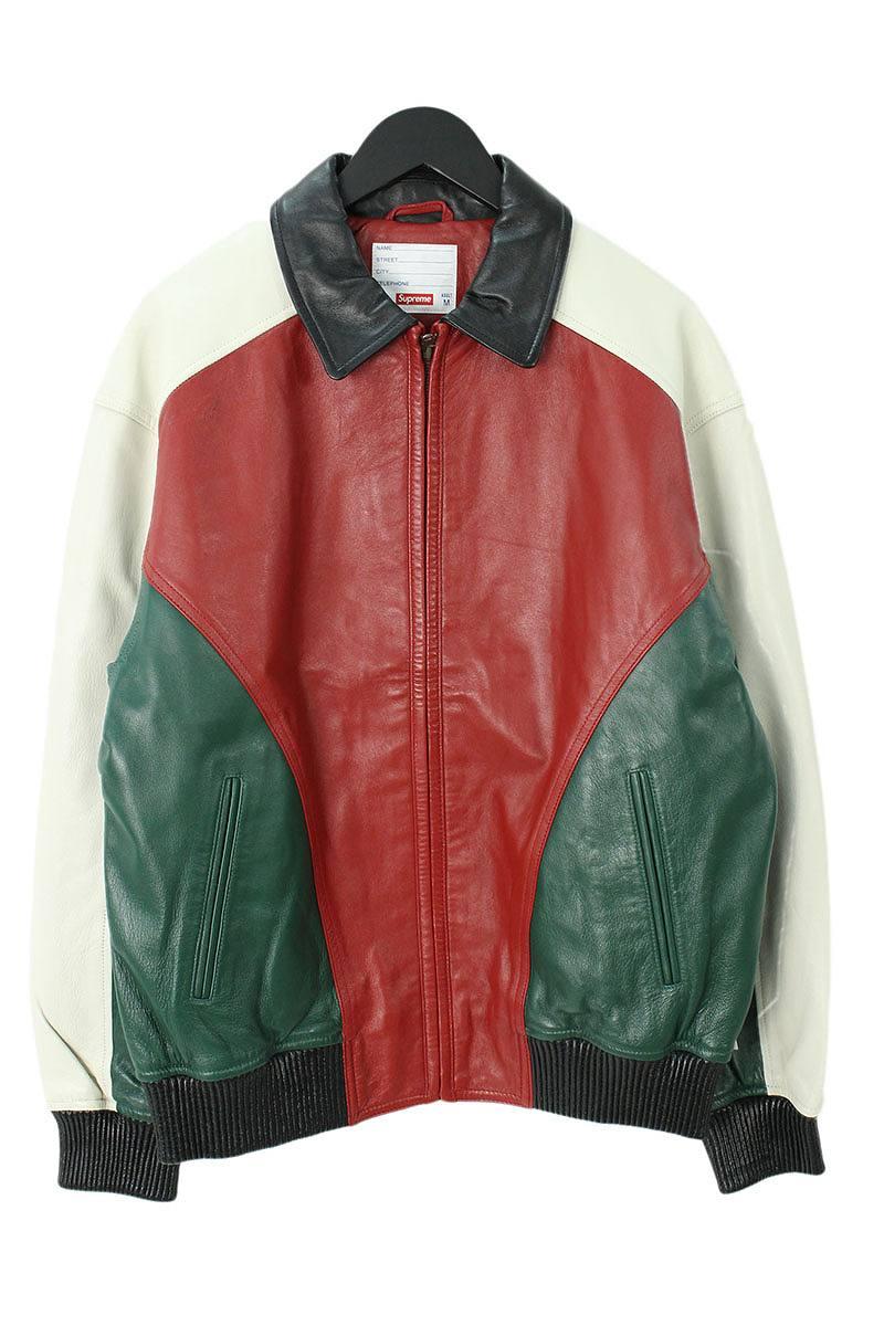 シュプリーム/SUPREME 【18SS】【Studded Arc Logo Leather Jacket】スタッズアーチロゴレザージャケット(M/レッド×グリーン×ホワイト)【SJ02】【メンズ】【411181】【中古】bb76#rinkan*S
