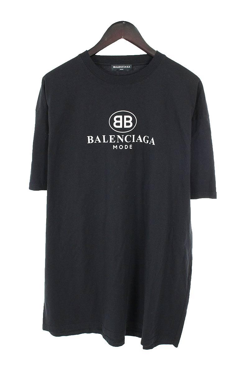バレンシアガ/BALENCIAGA 【18SS】【508203 TYK23】BB MODEプリントTシャツ(S/ブラック)【OM10】【メンズ】【911181】【中古】bb10#rinkan*A