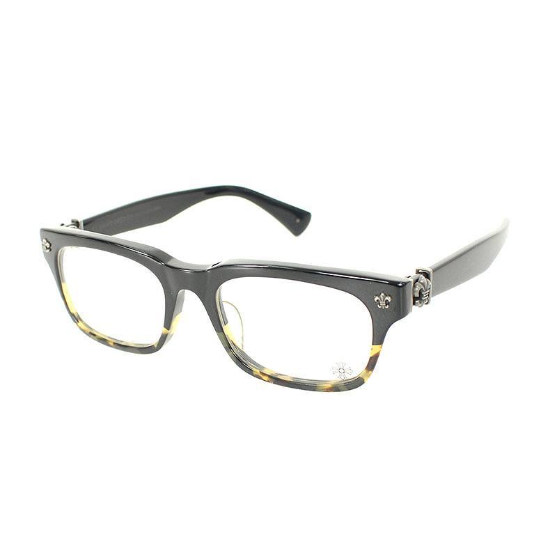 クロムハーツ/Chrome Hearts 【GITTIN ANY】BSフレアテンプルウェリントン眼鏡((フレーム)ブラック×ベージュ調)【HJ12】【小物】【121181】【中古】bb143#rinkan*B