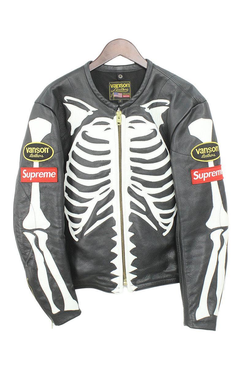 シュプリーム/SUPREME ×バンソン/VANSON 【17AW】【Leather Bones Jacket】ボーンレザージャケット(M/ブラック)【SB01】【メンズ】【302181】【中古】【P】bb81#rinkan*A