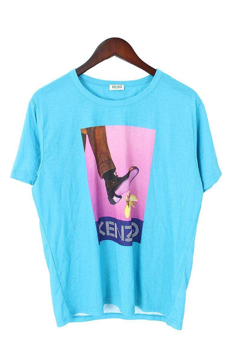 ケンゾー/KENZO フォトプリントTシャツ(L/ライトブルー)【BS99】【メンズ】【101091】【中古】bb212#rinkan*B