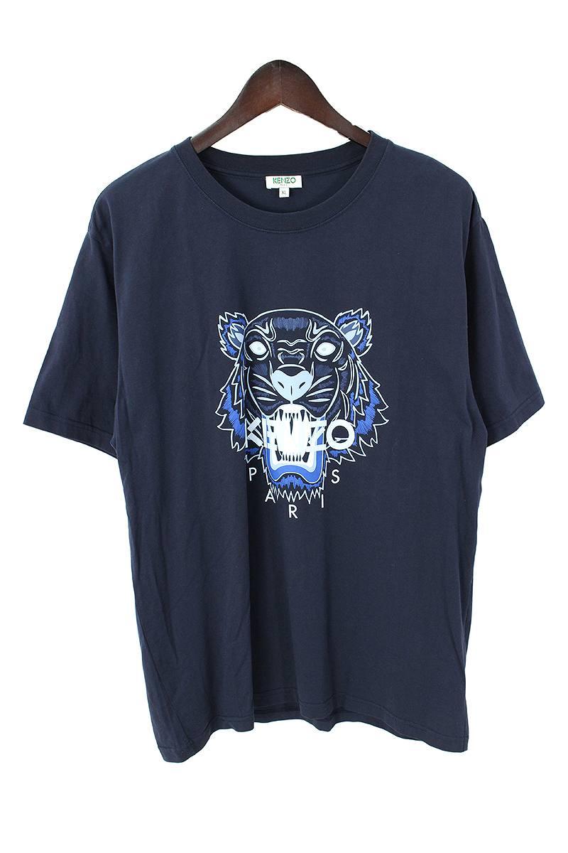 ケンゾー/KENZO 【F655TS0504YC】タイガープリントクルーネックTシャツ(XL/ネイビー)【BS99】【メンズ】【101091】【中古】bb212#rinkan*B