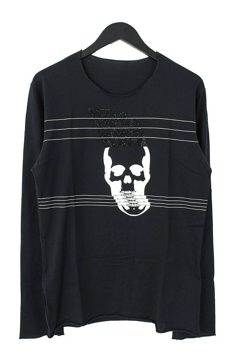 ルシアンペラフィネ/lucien pellat-finet スワロ装飾ボーダースカル長袖カットソー(M/ブラック)【BS99】【メンズ】【101091】【中古】bb51#rinkan*B