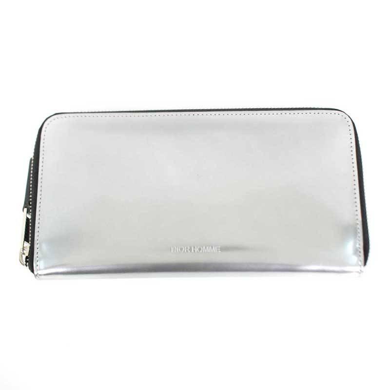 ディオールオム/Dior HOMME メタリックレザーラウンドジップ長財布(シルバー)【SB01】【小物】【721091】【中古】bb13#rinkan*B
