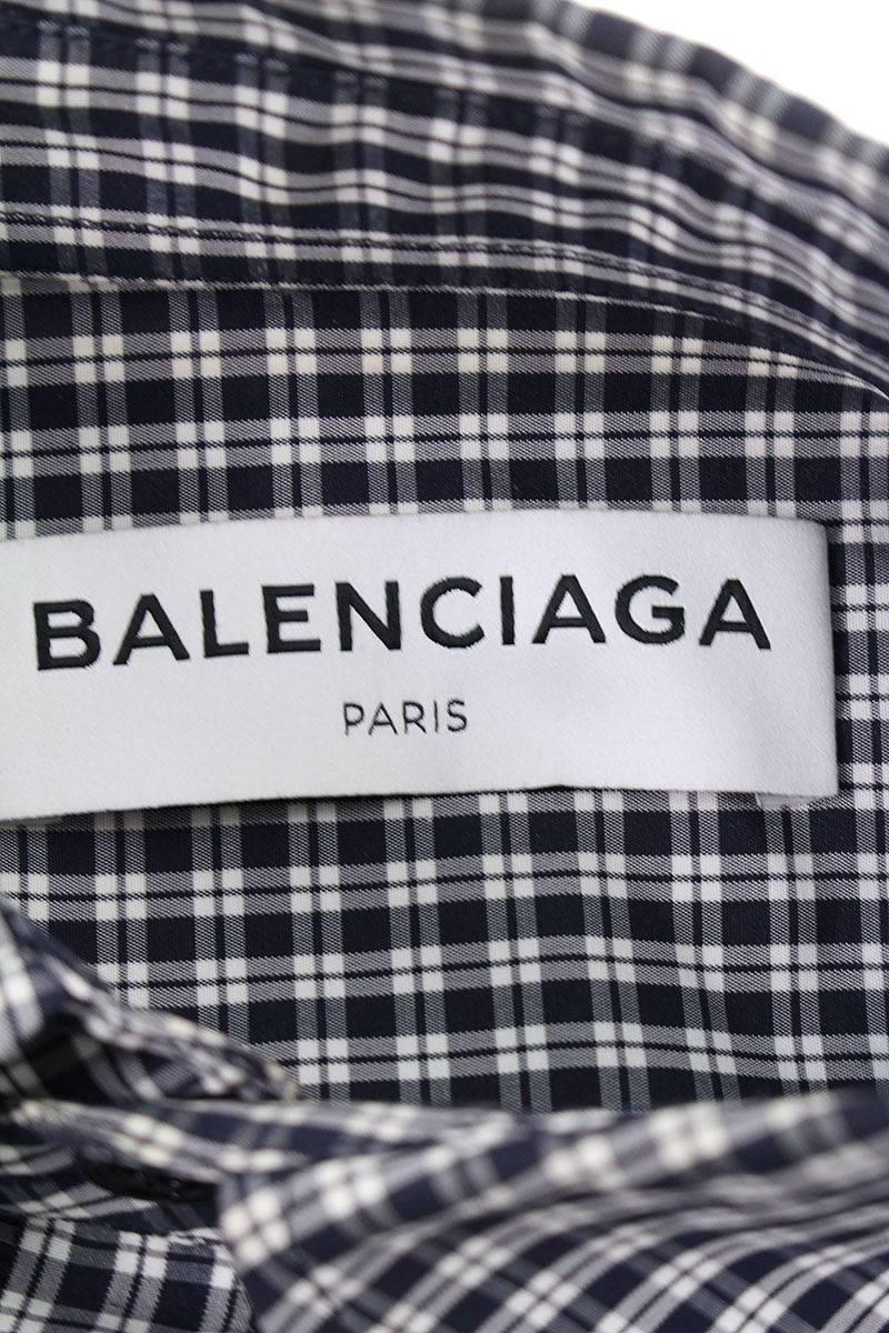 sneakers for cheap 255b3 eb43f バレンシアガ/BALENCIAGA 【17SS】【479977  TVB03】オーバーサイズチェックシャツ(34/ネイビー×ホワイト)【SB01】【メンズ】【402091】【中古】bb185#rinkan*A|RINKAN