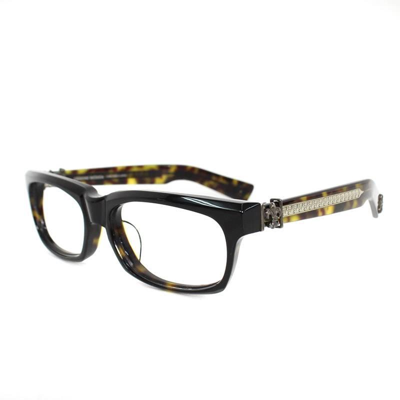 クロムハーツ/Chrome Hearts 【SPLAT-A】鼈甲柄BSフレアテンプルウェリントン型眼鏡((フレーム)ブラック×ブラウン調×シルバー)【SS07】【小物】【012091】【中古】bb27#rinkan*B