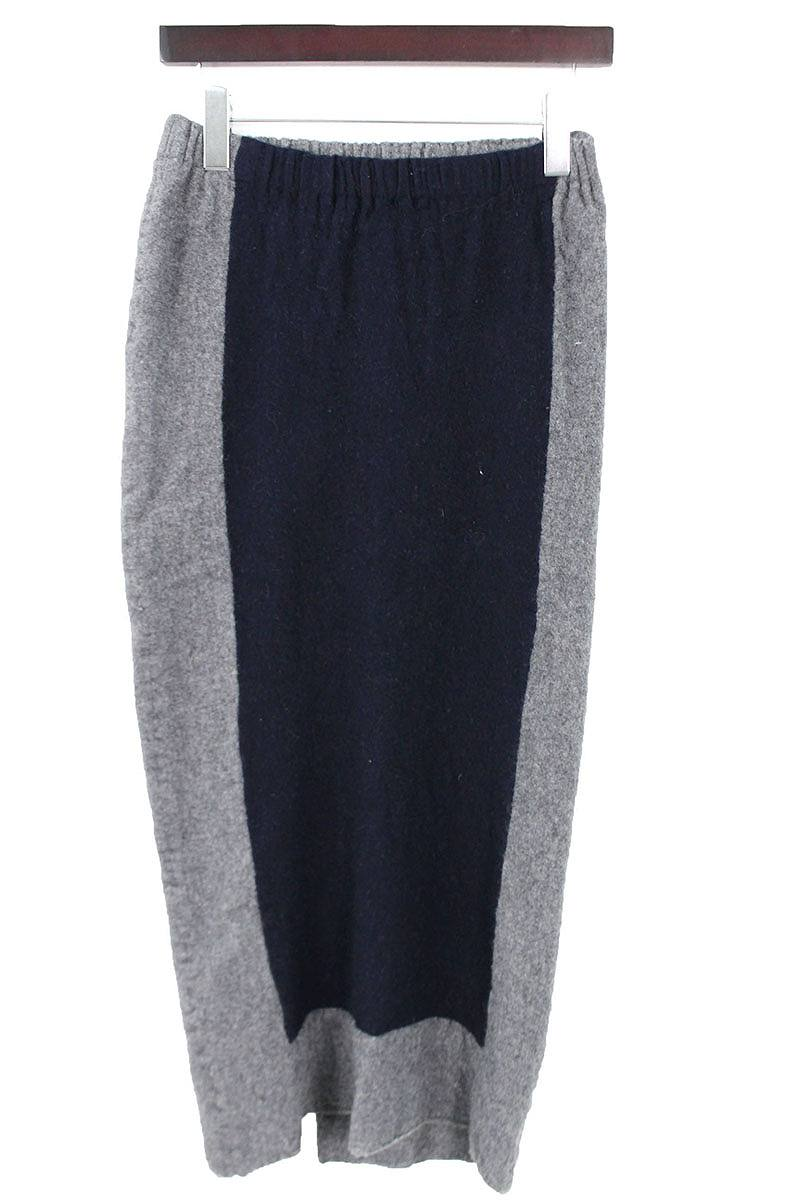 ローブドシャンブルコムデギャルソン/robe de chambre COMME des GARCONS AD1994カラー切替ウールスカート(グレー×ネイビー)【BS99】【レディース】【503091】【中古】bb14#rinkan*B
