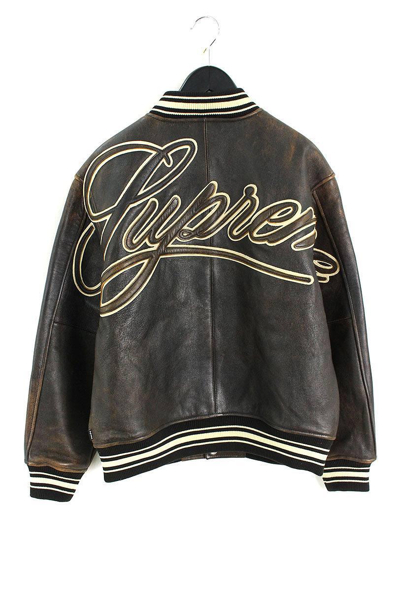 シュプリーム/SUPREME 【19SS】【Leather Varsity Jacket】ヴィンテージ加工バーシティレザージャケット(M/ブラウン)【SB01】【メンズ】【103091】【中古】bb131#rinkan*S