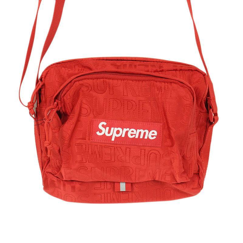シュプリーム/SUPREME 【19SS】【Shoulder Bag】ロゴ総柄ナイロンショルダーバッグ(レッド)【SB01】【小物】【103091】【中古】bb229#rinkan*S