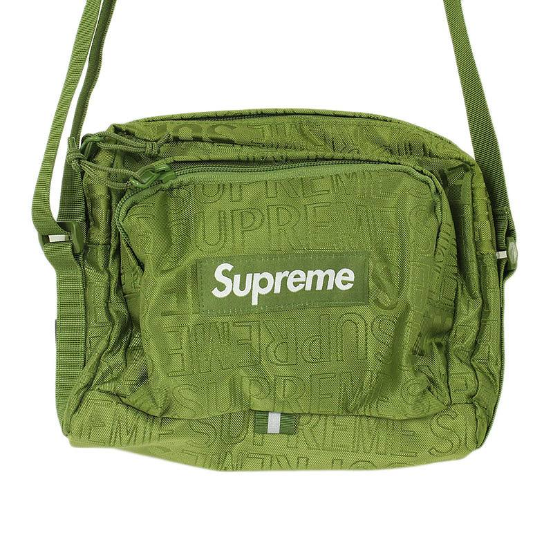 シュプリーム/SUPREME 【19SS】【Shoulder Bag】ロゴ総柄ナイロンショルダーバッグ(カーキ)【SB01】【小物】【103091】【中古】bb154#rinkan*S