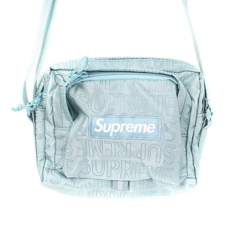 シュプリーム/SUPREME 【19SS】【Shoulder Bag】ロゴ総柄ナイロン ショルダーバッグ(ライトブルー)【SJ02】【小物】【103091】【中古】bb154#rinkan*S