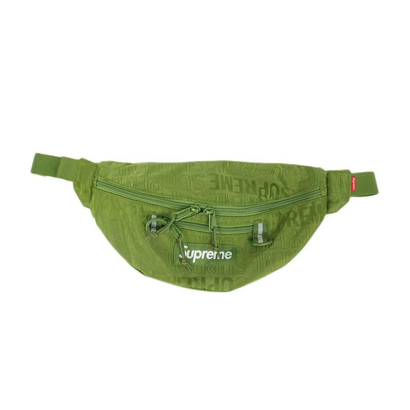 シュプリーム/SUPREME 【19SS】【Waist Bag】ロゴ総柄ナイロンウエストバッグ(カーキ)【SB01】【小物】【103091】【中古】bb229#rinkan*S