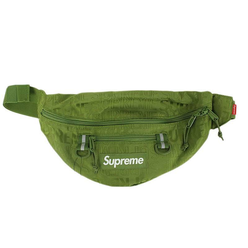 シュプリーム/SUPREME 【19SS】【Waist Bag】ロゴ総柄ナイロンウエストバッグ(カーキ)【SJ02】【小物】【103091】【中古】bb131#rinkan*S
