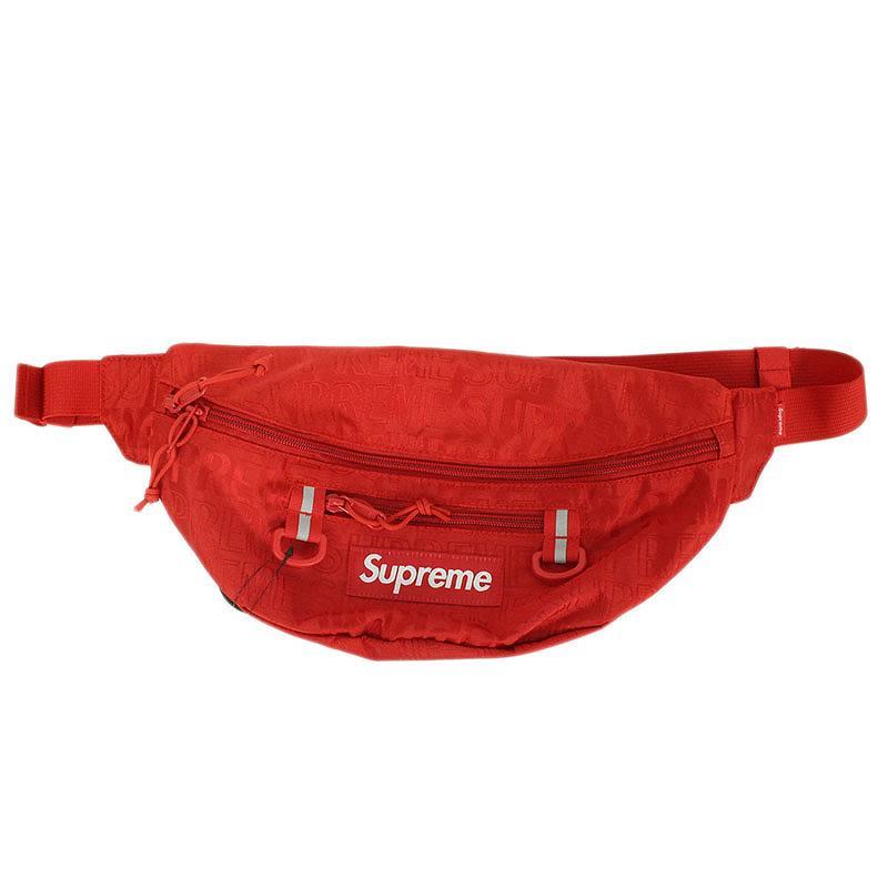 シュプリーム/SUPREME 【19SS】【Waist Bag】ロゴ総柄ナイロンウエストバッグ(レッド)【SJ02】【小物】【103091】【中古】bb131#rinkan*S
