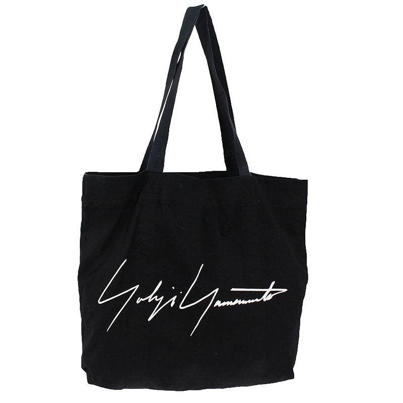 ヨウジヤマモト/Yohji Yamamoto ロゴプリントキャンバストートバッグ(ブラック)【BS99】【小物】【223091】【中古】bb162#rinkan*B