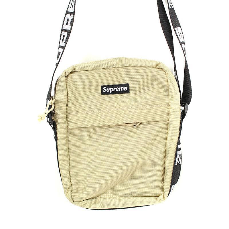 シュプリーム/SUPREME 【18SS】【Shoulder Bag】ボックスロゴナイロンショルダーバッグ(ベージュ)【SB01】【小物】【603091】【中古】bb229#rinkan*S