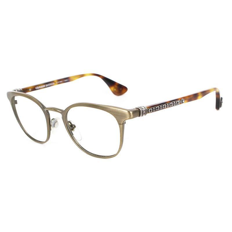 クロムハーツ/Chrome Hearts 【GROWLER II】CHロゴテンプルボストン眼鏡((フレーム)ブラウン調)【SJ02】【小物】【313091】【中古】bb14#rinkan*B