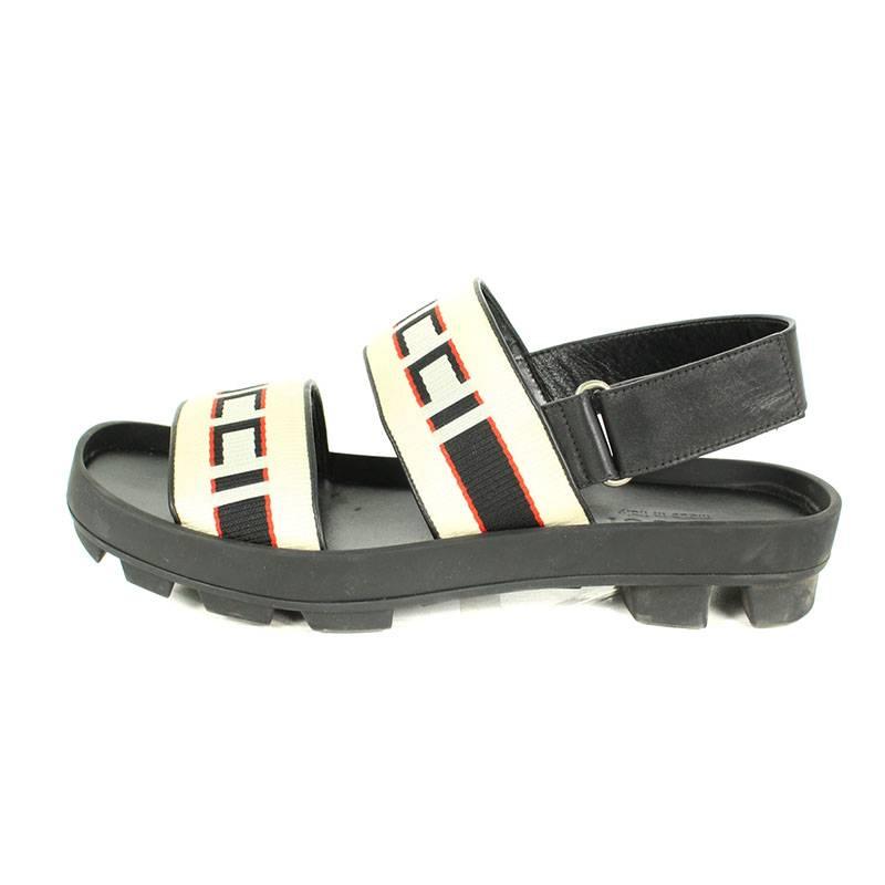 57570eca68a5 RINKAN  Gucci  GUCCI stripe strap sandals (8  black X white X red ...
