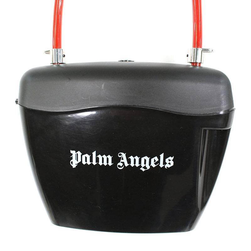 パームエンジェルス/PALM ANGELS パトロック付きPVCショルダーバッグ(ブラック×レッド)【BS99】【小物】【414091】【中古】bb13#rinkan*B