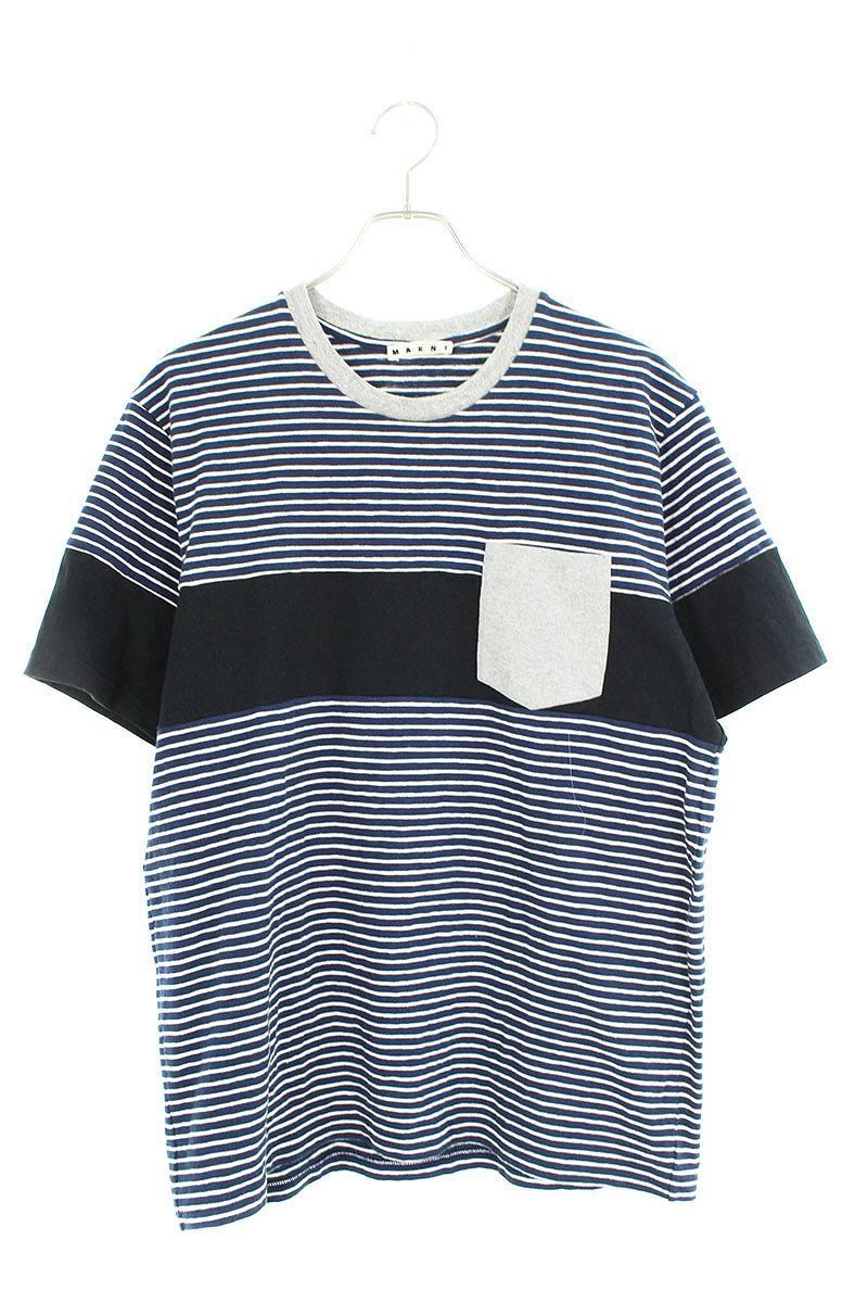 マルニ/MARNI ボーダーTシャツ(50/ネイビー)【BS99】【メンズ】【904091】【中古】bb15#rinkan*B