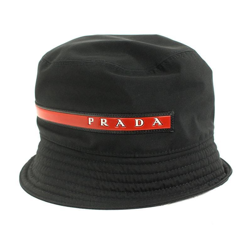 プラダスポーツ/PRADA SPORT ロゴデザインバケット帽子(L/ブラック)【SB01】【小物】【604091】【中古】bb51#rinkan*B