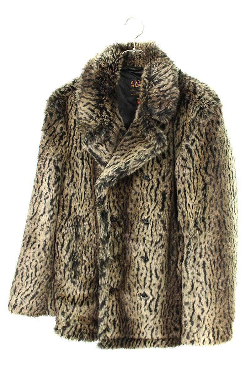 シュプリーム/SUPREME ×ショット/schott 【17AW】【Faux Fur Peacoat】レオパードフェイクファーPコート(M/ブラウン調)【SB01】【メンズ】【101191】【中古】bb187#rinkan*B