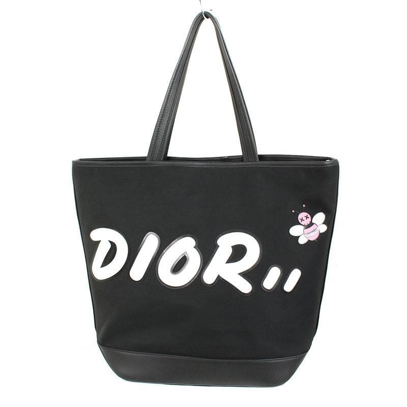 ディオール/Dior ×カウズ 【19SS】ロゴパッチ2WAYトートバッグ(ブラック)【SJ02】【小物】【414091】【中古】bb82#rinkan*A
