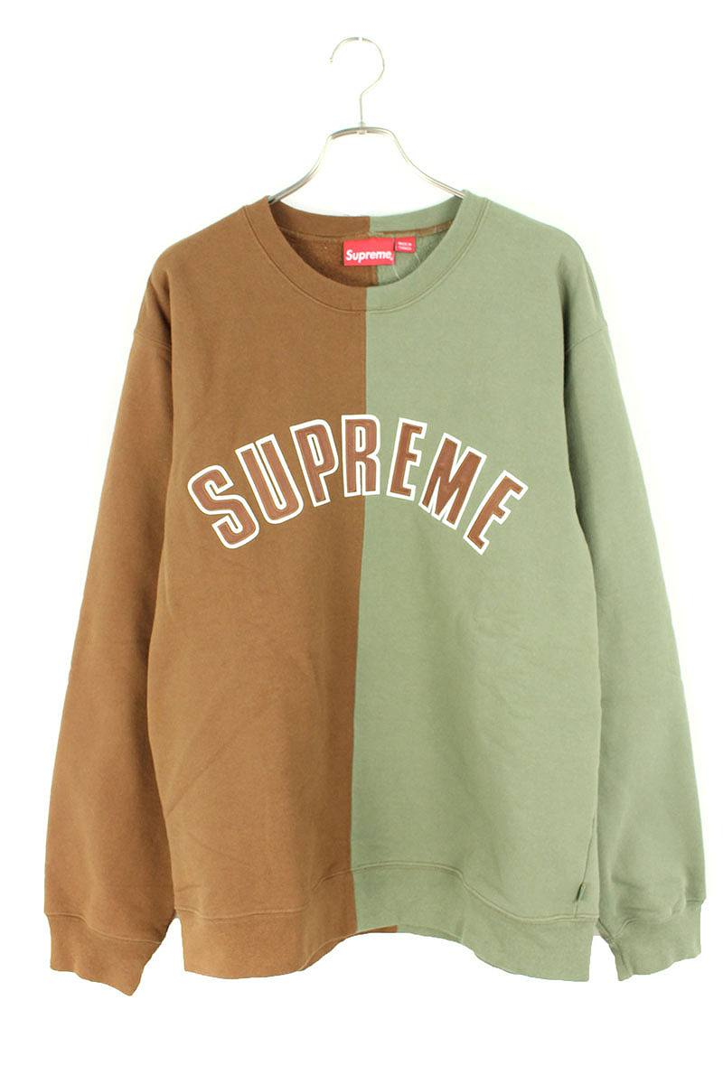 シュプリーム/SUPREME 【18AW】【Split Crewneck Sweatshirt】スプリットクルーネックスウェット(XL/グリーン×ブラウン)【HJ12】【メンズ】【714091】【中古】bb212#rinkan*A