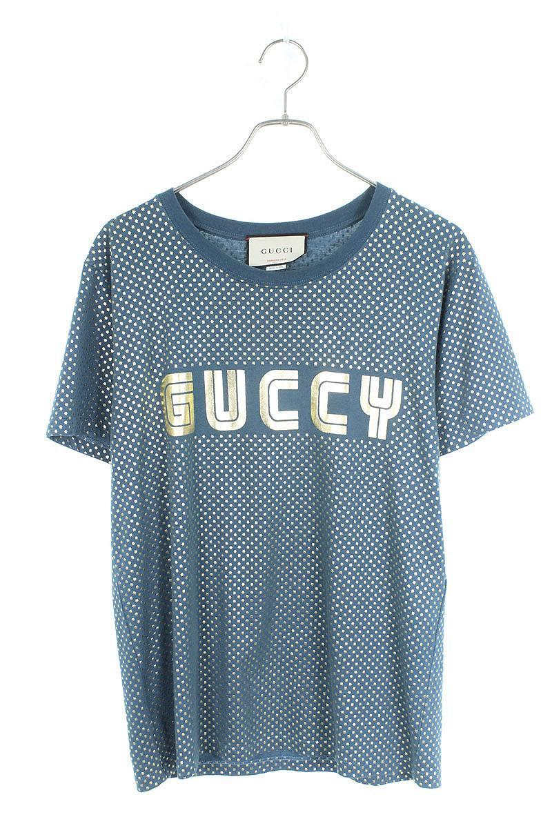 740e34507b65 RINKAN  Gucci  GUCCI logo print T-shirt (XS  blue X gold) bb205 ...